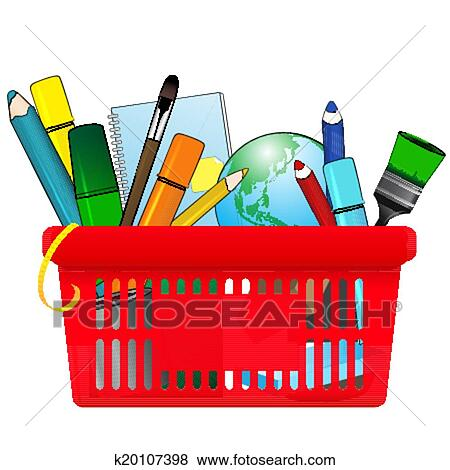 clip art of shopping card with school supplies k20107398 search rh fotosearch com clipart of back to school supplies free clipart images of school supplies