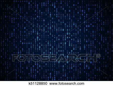 Vector binary code dark blue background  Big data and programming hacking,  deep decryption and encryption, computer streaming numbers 1, 0  Coding or