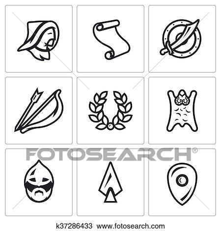 Vector Set of Mongol Tatar Yoke Icons  Asian, Decree, Shield, Sword, Bow  and Arrow, Glory, Horde, Russian Warrior, Spear  Clipart