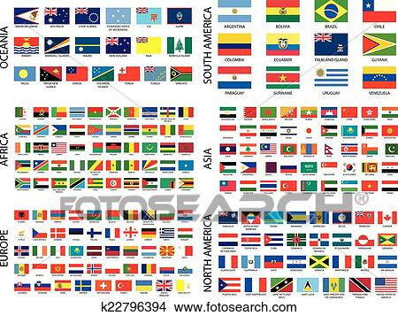 clipart of alphabetical country flags by continent k22796394
