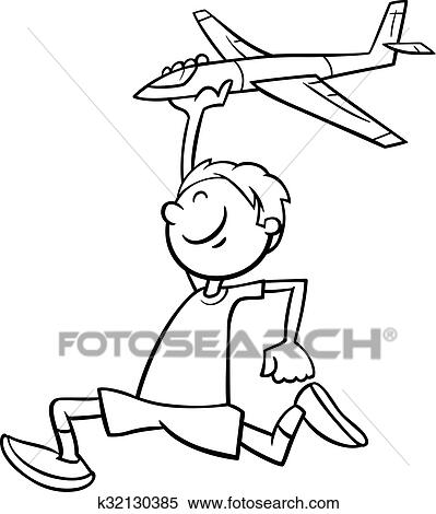 boy and plane coloring book clipart k32130385
