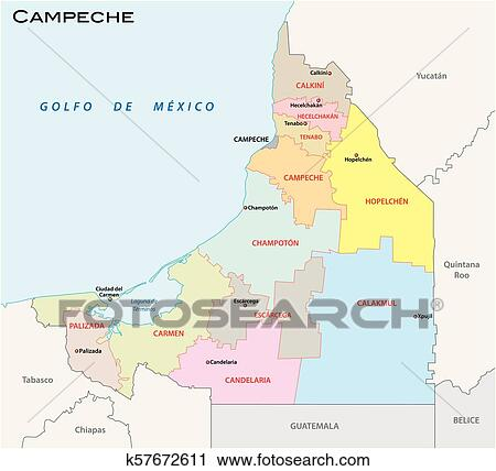 Golfo De Mexico Map.Clipart Of Campeche Administrative And Political Vector Map Mexico