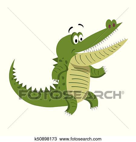 Clipart Cartone Animato Coccodrillo Standing Con Spalancato