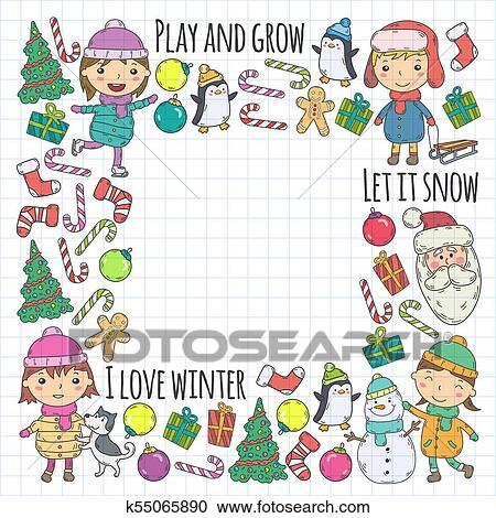 Children And Winter Games Ski Sledge Ice Skating Christmas Celebration Kindergarten Kids Play And Having Fun Santa Claus Snowman Deer Penguin Kids Drawing Vector Doodle Illustration Clipart K55065890 Fotosearch