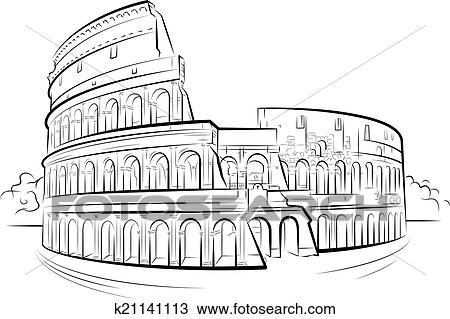 Drawing colosseum rome italy clipart k21141113 for Colosseo da colorare