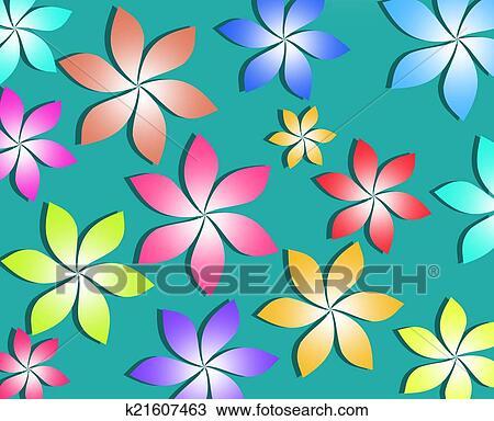 Flores Coloridas Padrao Experiencia Desenho K21607463 Fotosearch