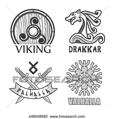 Viking Drakkar And Valhalla Monochrome Isolated Logotypes Set Clipart K48558582 Fotosearch