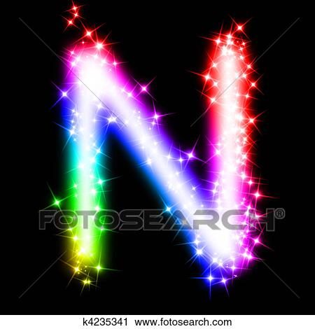 3d Rendered Illustration Of A Glitter Rainbow Letter