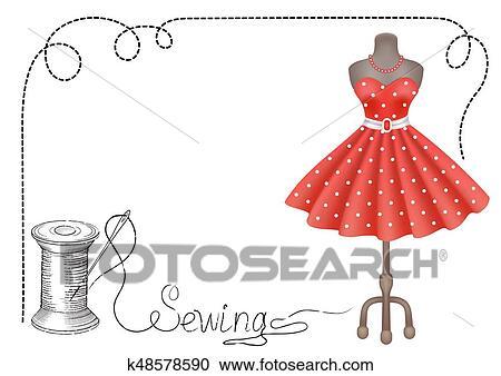 Décoratif Cadre Pour Atelier étiquettes à Main Dessiné Robe Bobine De Fil Et Aiguille Clipart