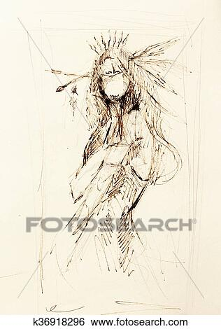 Banque D Illustrations Dessin Crayon Sur Papier Indien Femme