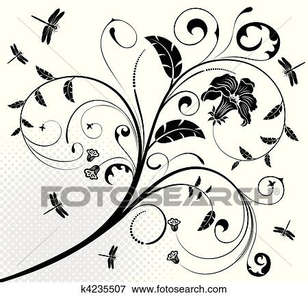clip art of floral design k4235507 search clipart illustration Floral Design Templates clip art floral design fotosearch search clipart illustration posters drawings