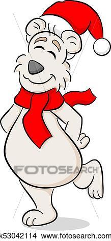 Clipart Gai Dessin Anime Noel Ours Blanc K53042114 Recherchez