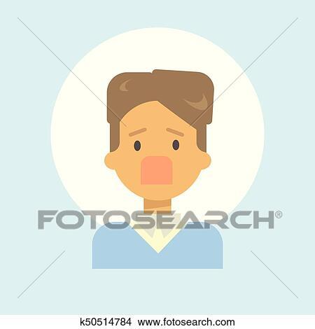 clipart of male screaming emotion profile icon man cartoon portrait