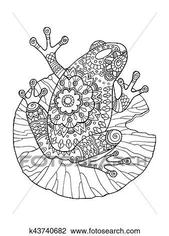 Clipart - rana, libro colorear, vector, ilustración k43740682 ...