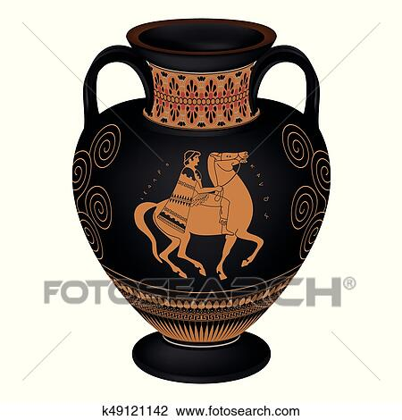 Clipart Of Vector Greek Vase K49121142 Search Clip Art