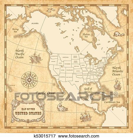 Clip Art of Vector Vintage US map k53015717 - Search Clipart ...