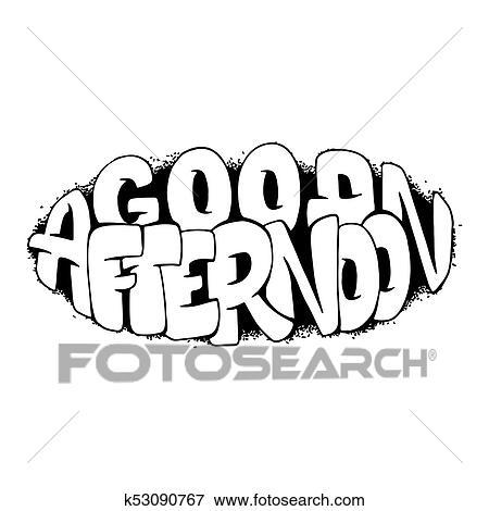 Clip Art - bueno, tarde, mano, dibujado, letras, para, carteles ...