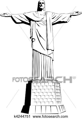 Dessin Christ Redempteur clipart - christ rédempteur, -, détaillé, vect k4244751 - recherchez