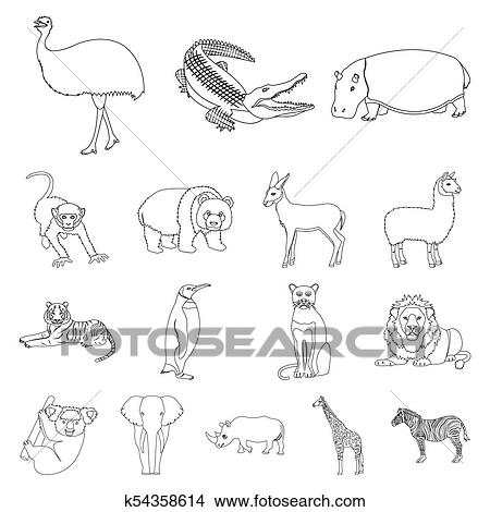 drawings of different animals outline icons in set collection for
