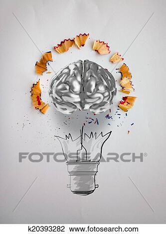 Hand Gezeichnet Glühbirne Mit Bleistift Säge Staub Und 3d Gehirn Symbol Auf Zeichnung