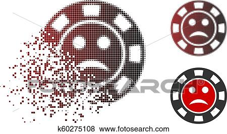 Moving Pixel Halftone Pity Casino Chip Icon Clip Art
