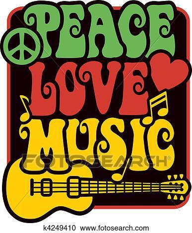 Clipart paix amour music rasta couleurs k4249410 - Clipart amour ...