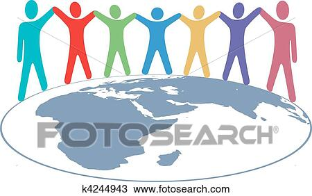 clipart of people colors hold hands and arms on world map k4244943 rh fotosearch com clipart world map background world map clipart