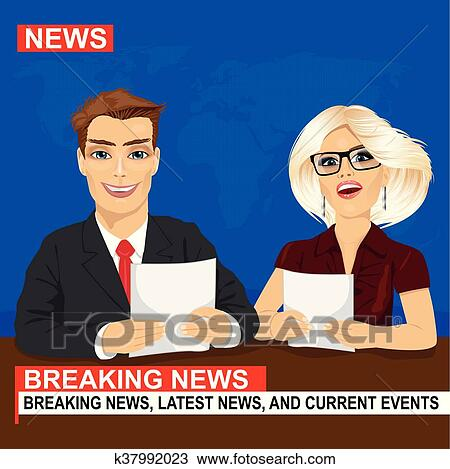 Clipart Of TV News Anchors Reporting Breaking Sitting In Studio