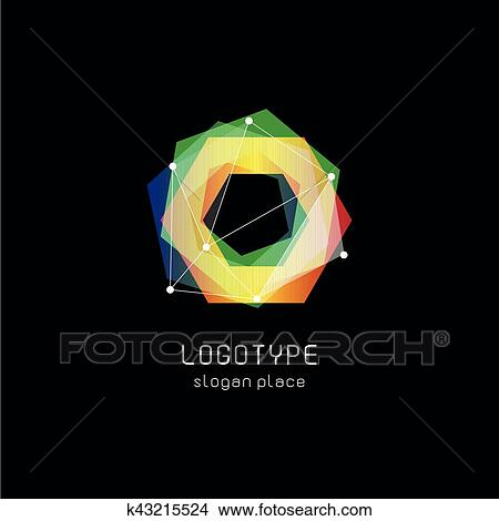 Unusual abstract geometric shapes vector logo  Circular, polygonal colorful  logotypes on the black background  Clipart