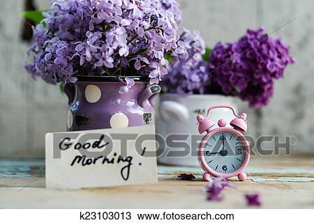 Stock Foto - zwei töne, lila, blumen, mit, guten morgen, merkzettel ...