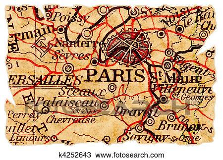 パリ 古い 地図 スケッチ K4252643 Fotosearch