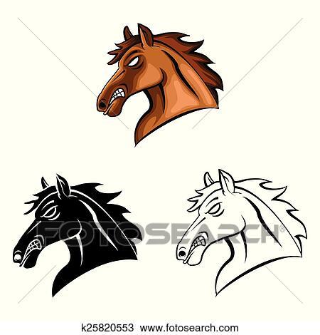 Clipart - ausmalbilder, pferdekopf, caracter k25820553 - Suche Clip ...