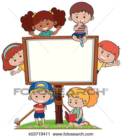 clipart of border template with many happy kids k53719411 search rh fotosearch com
