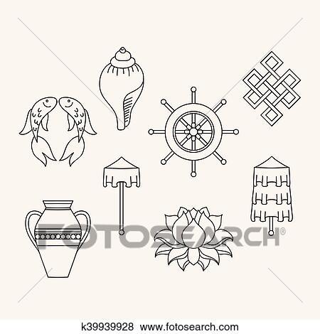 Buddhist symbolism, The 8 Auspicious Symbols of Buddhism, Right-coiled  White Conch, Precious Umbrella, Victory Banner, Golden Fish, Dharma Wheel,