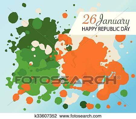 Flat Design Style Happy Republic Day India Watercolor