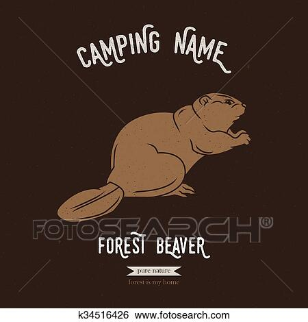 Forest beaver vector illustration  European animals silhouettes with  lettering chalk board  Camping logo gesign  Clip Art