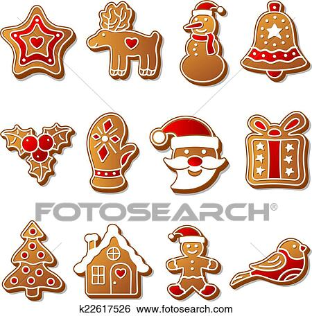 Gingerbread Christmas Cookies Set Clip Art K22617526