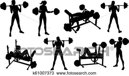 Gym Fitness Equipment Woman Silhouettes Set Clipart K61007373 Fotosearch