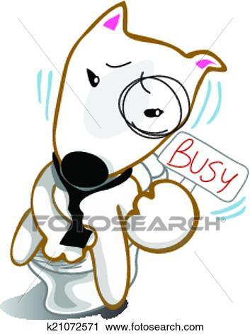 Clipart Hund Emsige Scheisse In Toilette K21072571 Suche