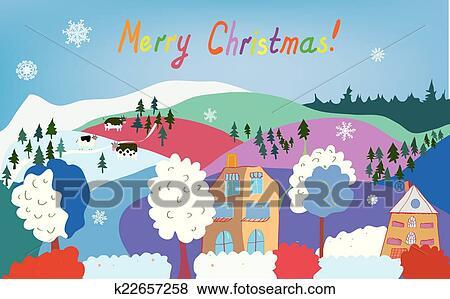 Clipart Joyeux Noel Carte A Village Montagne Vaches Flocons