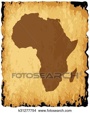 Africa Map Background.Clipart Of Old African Map K31277754 Search Clip Art Illustration