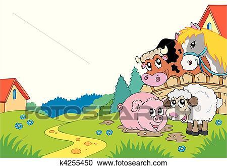 Clipart Paese Paesaggio Con Animali Fattoria K4255450 Cerca