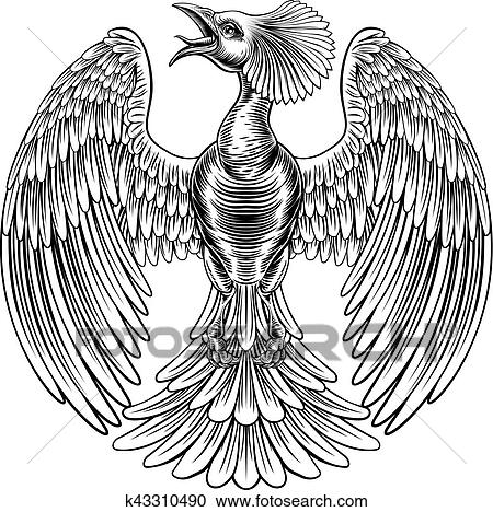 clipart of peacock phoenix bird design k43310490 search clip art