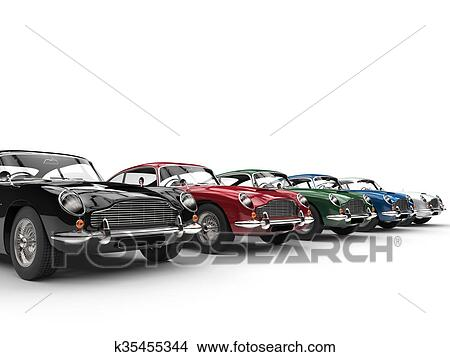 Drawings Of Row Of Awesome Vintage Cars K35455344 Search Clip Art