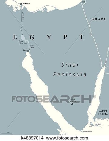Clipart Of Sinai Peninsula Egypt Political Map K48897014 Search