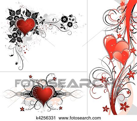 Clipart Of Valentines Day Background With Hearts And Flower K4256331