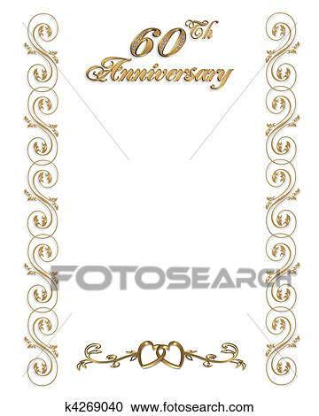 Stock illustrations of 60th anniversary invitation border k4269040 60th wedding anniversary elegant formal invitation template background border with gold text and ornamental accents on white with copy space stopboris Image collections