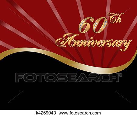 Zeichnung 60th Hochzeitsjubilaum Einladung K4269043 Suche