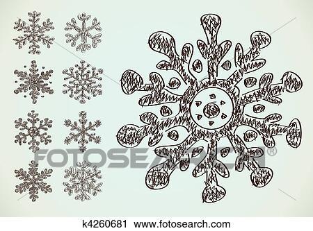 Clipart Bleistift Zeichnen Schneeflocken K4260681 Suche Clip