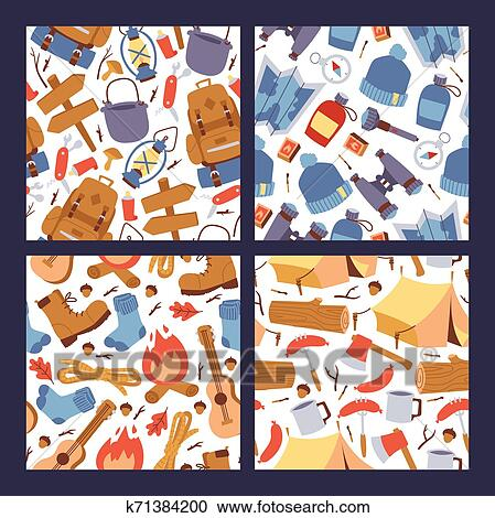 Camping Hiking Stickers Seamless Pattern Illustration Cartoon Tourism Equipment For Travelling Wallpaper Clipart K71384200 Fotosearch